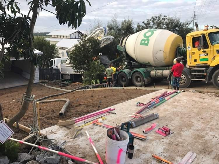 concrete truck on site